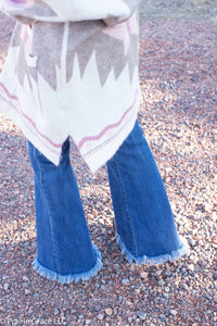 Fringe Button Fly Flares