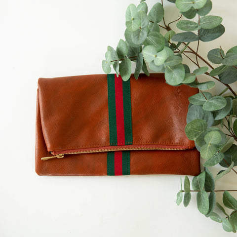 red and green striped clutch purse