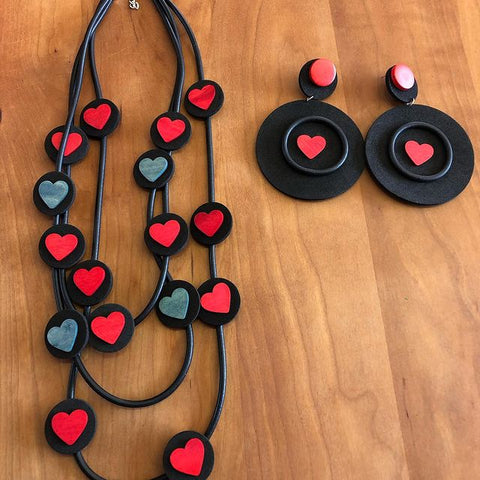 hanging heart necklace set