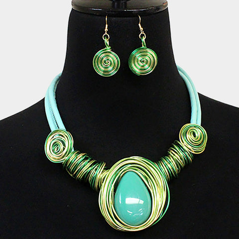 Turquoise green metal spiral necklace