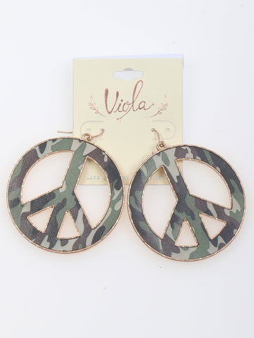Camo Peace sign earrings