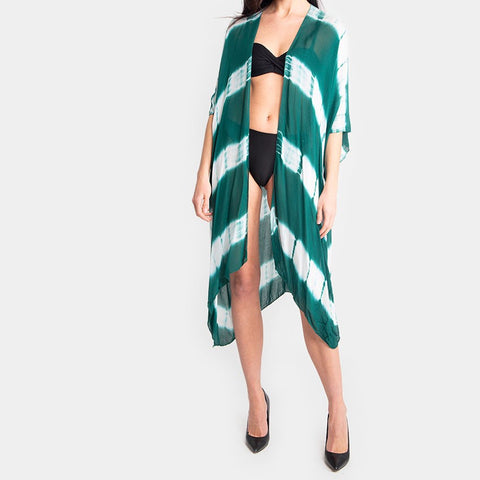 Green tie dye beach cover up