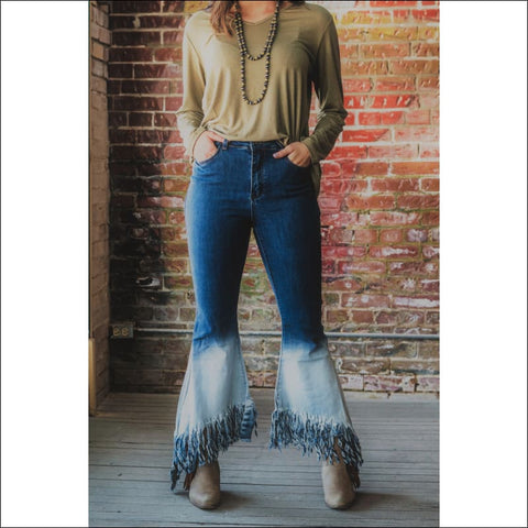 Two Tone Bell Bottom Jeans