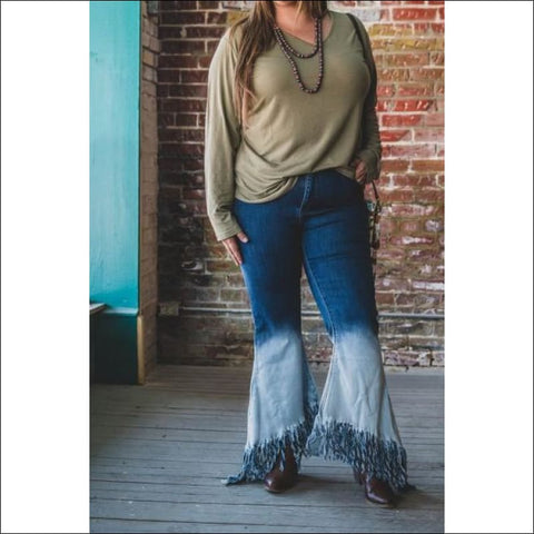 Beachy Waves Two Tone Bell Bottom Jeans (Plus Size)