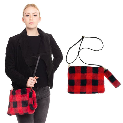 Red and black buffalo check fur purse