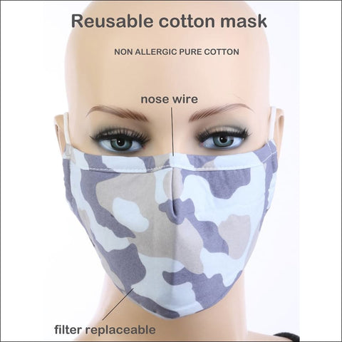 blue and grey cotton camo face mask