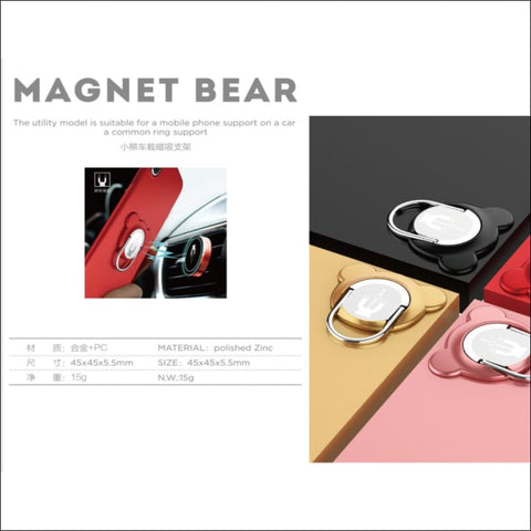 Cute Bear Magnetic Ring Stand with Vent clip - Cellphone