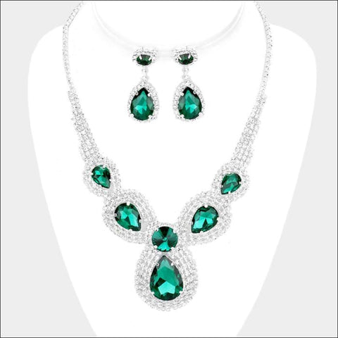 Emerald Marquise necklace set