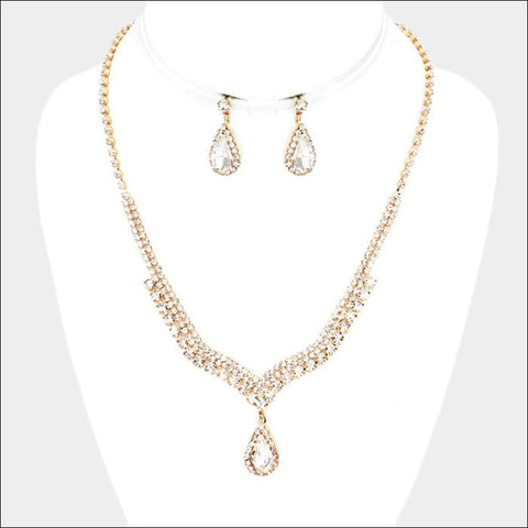 gold and diamond rhinestone necklace set