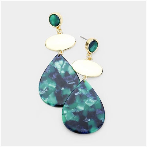 Green Resin Earrings - earrings