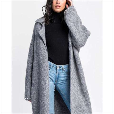 Grey Pearl Sweater Coat