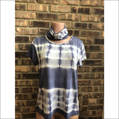 Indigo Tie Dye T shirt and Face Scarf set - t shirt