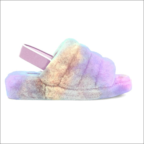 multicolored fur sandals