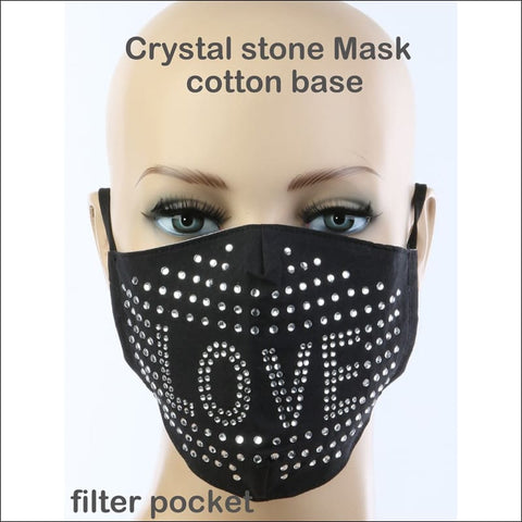 love rhinestone face mask