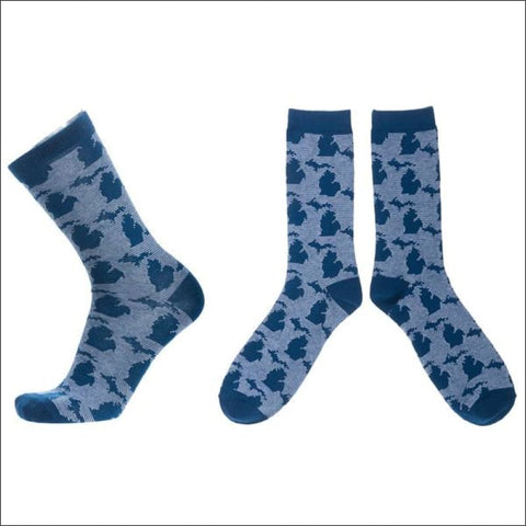 Michigan Map Blue Socks - socks