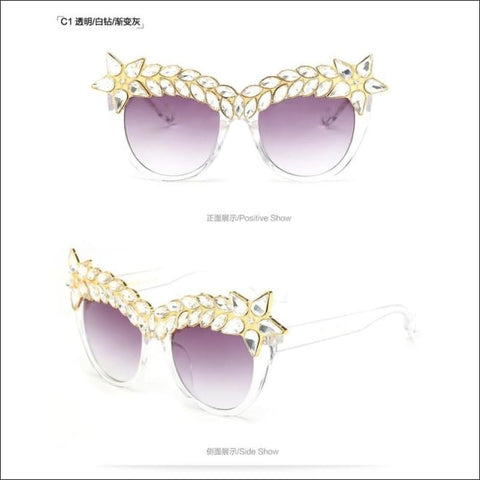 Oversized Crystal Bling Sunglasses - sunglasses