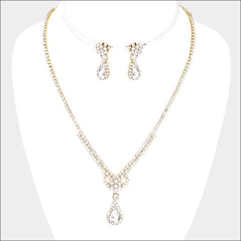 PAVE diamond rhinestone necklace set