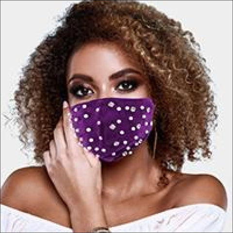 purple velvet pearl mask