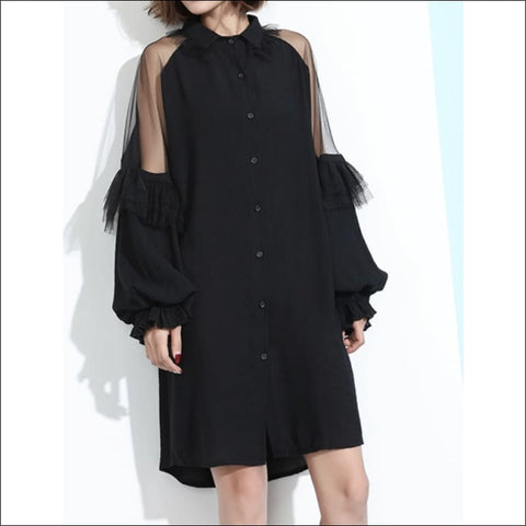 Peek a boo shirtdress - M/L - dress