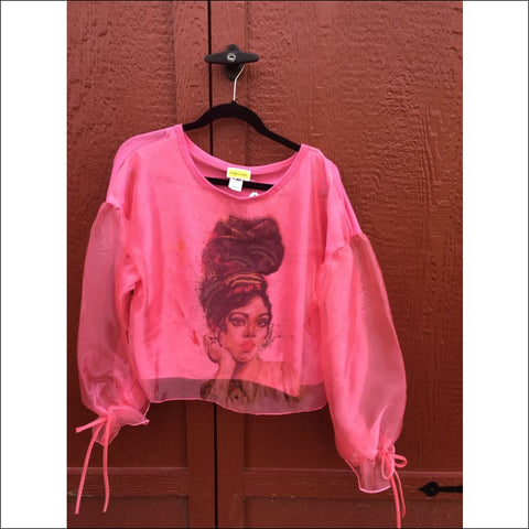 pink sheer sleeve blouse