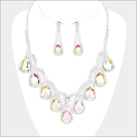 Rainbow Crystal Necklace Set