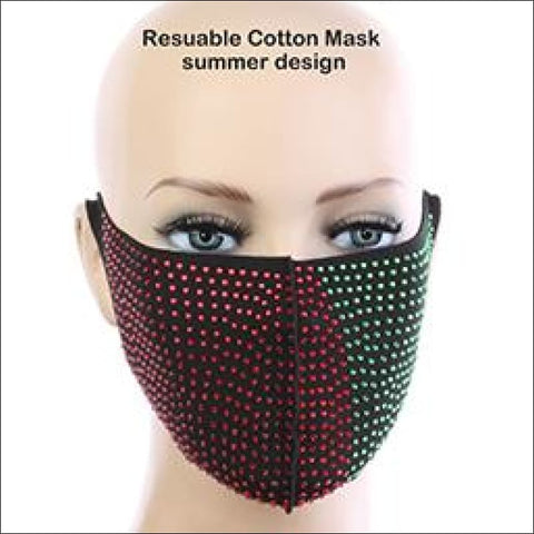 Red and Green Rhinestone Face Mask