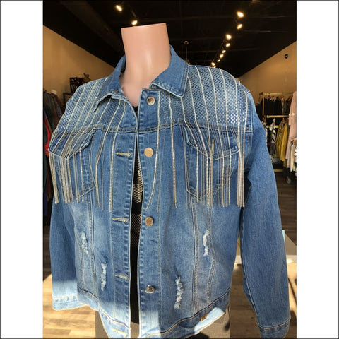 Rhinestone Lights Denim Jacket - denim jacket