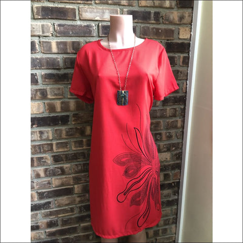 red dress with floral design