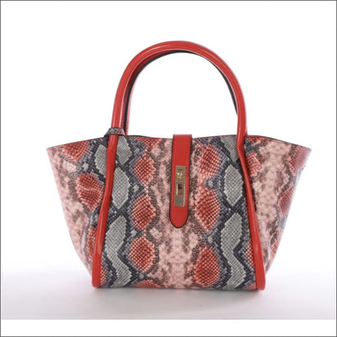 red and grey snakeskin print purse