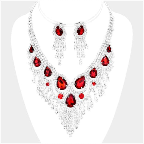 Red and Crystal Necklace Set