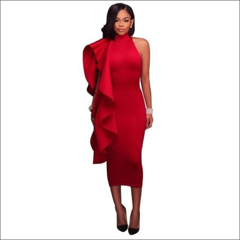 Ruffle Dress - Red / S - dress