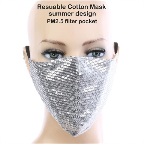Silver Sequins Face Mask - face mask