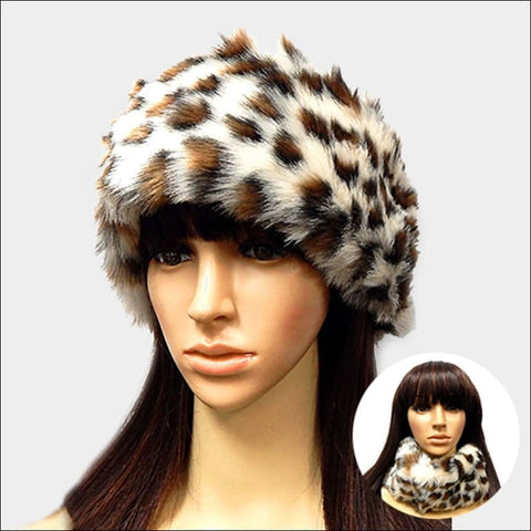 snow leopard print faux fur head band