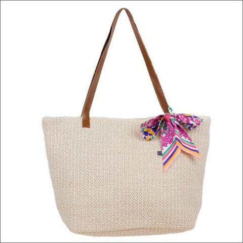 SPRING'S BLOOM WOVEN BAG WITH PRINTED SCARF - HANDBAG