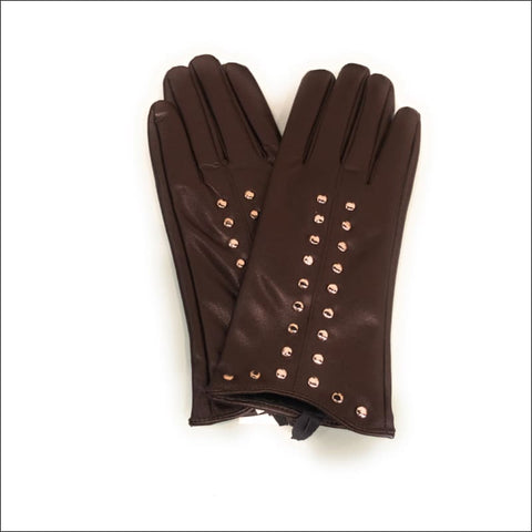 Studded Gloves (Brown) - gloves