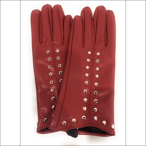 Studded Gloves (Burgundy) - gloves
