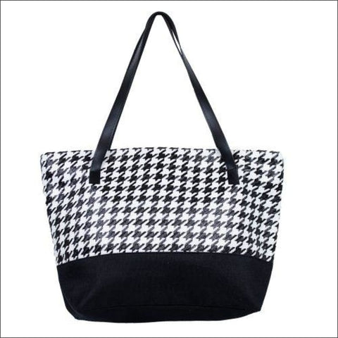 TWO TONE HOUNDSTOOTH PRINT TOTE BEACH BAG
