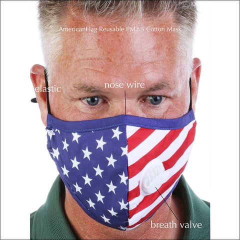 USA Flag Mask with Filter and Breathing Valve
