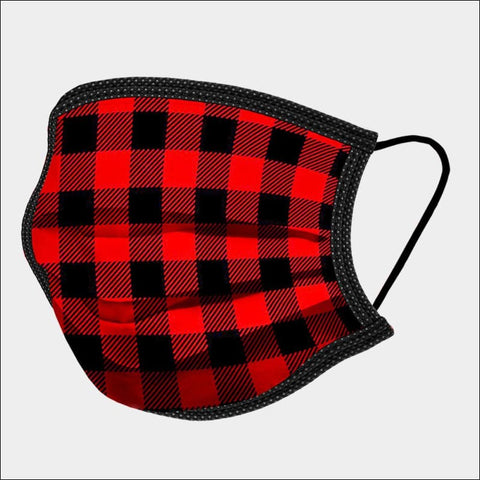 Red and black Plaid  Mask