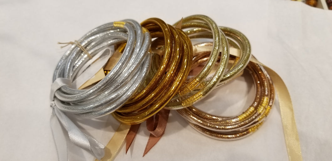 Silver Flexible Jelly Bangle Set