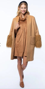 Wool coat with faux fur sleeves