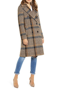 Knee length plaid coat
