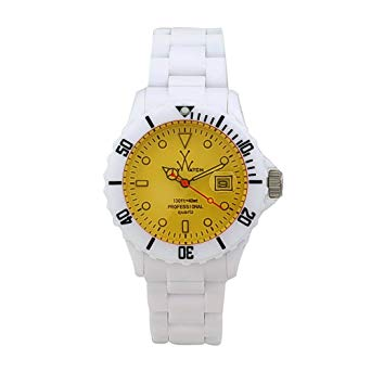 ToyWatch White/Yellow Plasteramic Ladies Watch FLO1WHYL