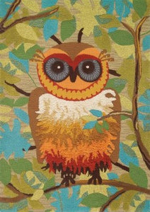 """Give a Hoot"" Owl Rug 4'6"" x 6'6"" 100% wool Special Sale"