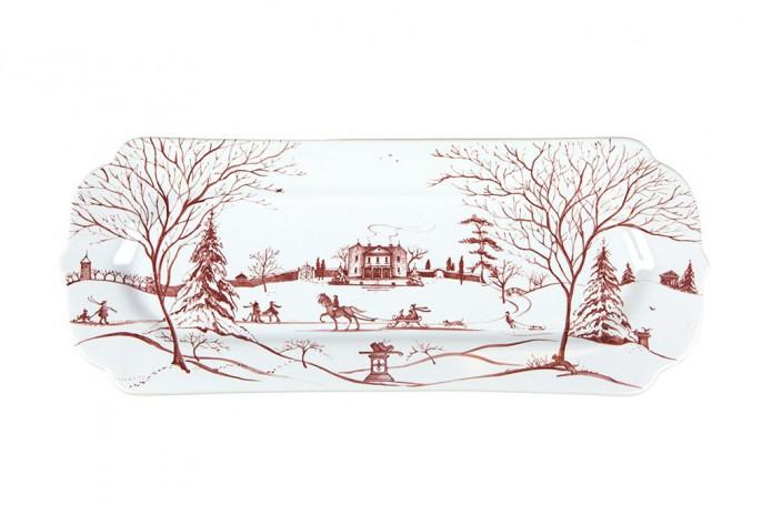 Country Estate Winter Frolic Ruby Hostess Tray Main House