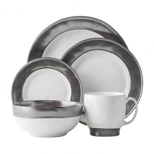 Emerson White/Pewter 5pc Setting