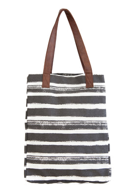 Market Tote, Vertical Charcoal Stripes
