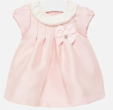 Baby Girl blush pink twill Dress with short sleeves