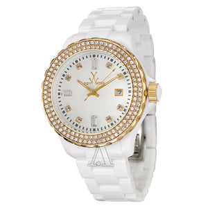 ToyWatch White Plasteramic Ladies Watch with Gold Face PCLS25PG