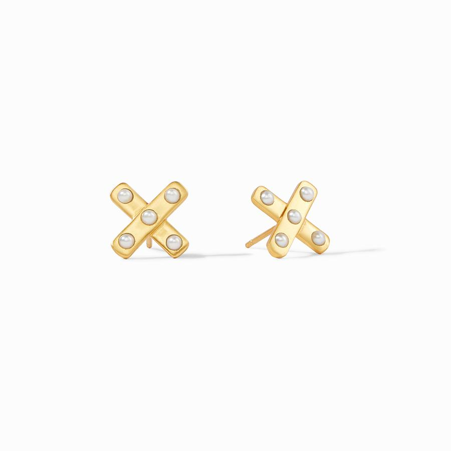 Julie Vos Pearl Paris X Stud Earrings